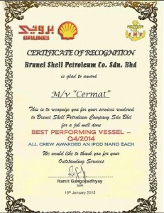 MEO CERMAT : We are pleased to announce that MV CERMAT has been chosen as Q4 2014 Best Performing Vessel by Brunei Shell Petroleum.